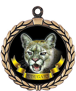 Cougar Mascot Medal HR905-7169 with Neck Ribbon