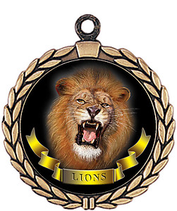 Lions Mascot Medal HR905-7166 with Neck Ribbon