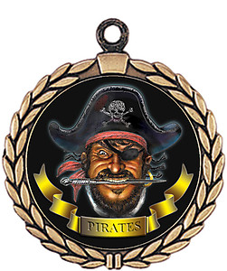 Pirate Mascot Medal HR905-7167 with Neck Ribbon