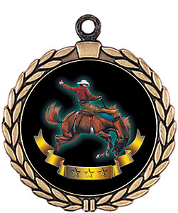 Cowboy Mascot Medal HR905-7176 with Neck Ribbon