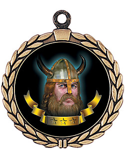 Viking Mascot Medal HR905-7177 with Neck Ribbon