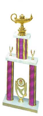 2DPS School Trophies, double post, stacked column design,