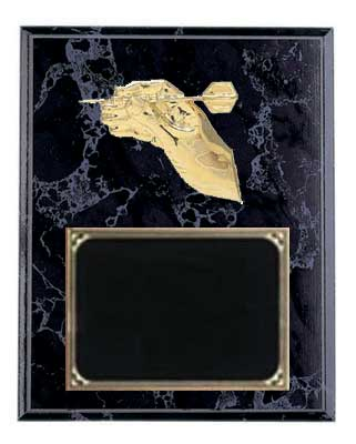 Darts Plaque in Black Marble Finish with Deluxe Engraving Plate