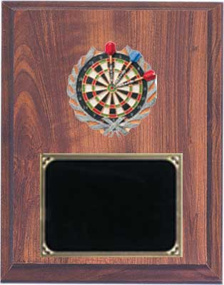 Darts Plaque in Cherry Finish with Deluxe Engraving Plate