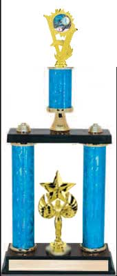 2DPS Swimming Trophies with double posts and stacked column design