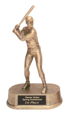 Resin Gold Male Baseball Trophy Statue
