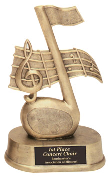 Resin Music Note Trophy Statue HR21