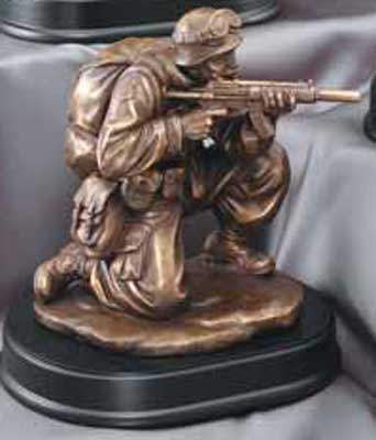 Military Ready to Fire Soldier Statue