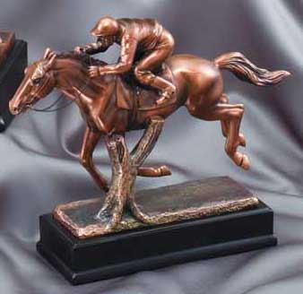 Resin Race Horse and Jockey Statue