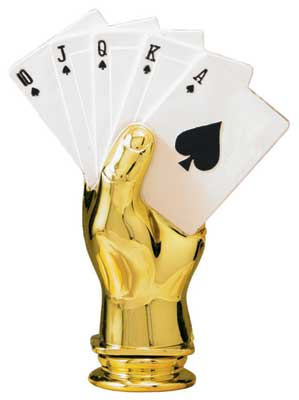 Color Poker Hand Trophy Figure RP82995CL