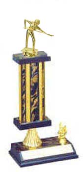 Square Column Billiard Trophy with Riser and Trim Figure, S2R