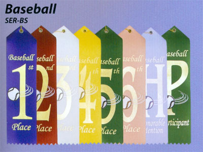 Pre-Printed Baseball Ribbons will Ship Same or Next Day