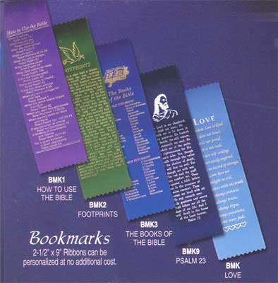 Bookmarks Ribbons available in How to use the Bible, Books of the Bible, Psalm 23, Footprints and Love