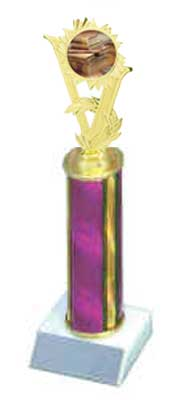 R1R Academic Trophies with a single round column, and riser.