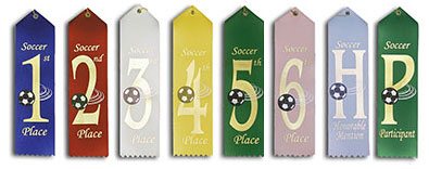 Pre-Printed Soccer Ribbons will Ship Same or Next Day