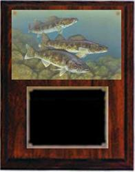 Deluxe Cherry Finish Image Fishing Plaque V Series