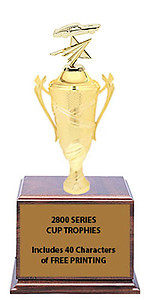 CF2800 Mustang Cup Trophies with 9 Size Options, Add Cup & Base Height to the Topper Height to Get Overall Height of Trophy
