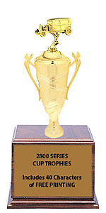 CF2800 Hot Rod Car Show Cup Trophies with 9 Size Options, Add Cup & Base Height to the Topper Height to Get Overall Height of Trophy