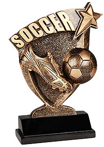 Broadcast Resin Soccer Trophies in Two Sizes
