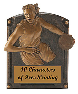 54707 Legend of Fame Girls Resin Basketball Plaque