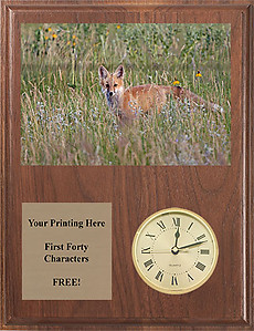 V Series Solid Walnut Fox & Coyote Clock Plaques