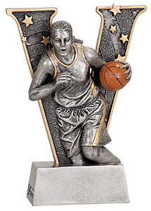 V Series Resin Girls Basketball Trophies with two size options