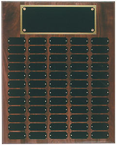 Genuine Walnut Perpetual Plaque with header and 60 plates.