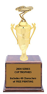 CF2800 Corvette Cup Trophies with 9 Size Options, Add Cup & Base Height to the Topper Height to Get Overall Height of Trophy