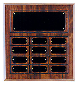 Perpetual plaque with header and 12 plates.
