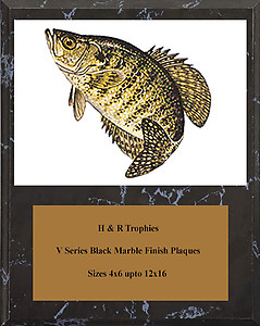 V Series Black Marble Finish Crappie Plaques