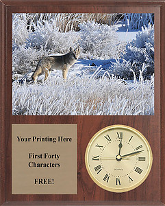 V Series Cherry Finish Fox & Coyote Plaques with Clocks