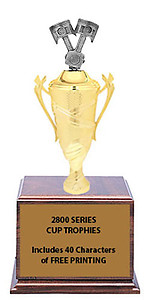 CF2800 Piston Cup Trophies with 9 Size Options, Add Cup & Base Height to the Topper Height to Get Overall Height of Trophy