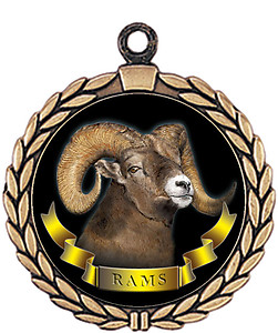 Rams Mascot Medal HR905-7168 with Neck Ribbon