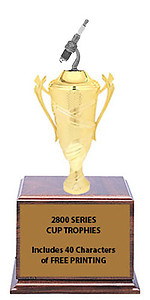 CF2800 Silver Spark Plug Cup Trophies with 9 Size Options, Add Cup & Base Height to the Topper Height to Get Overall Height of Trophy