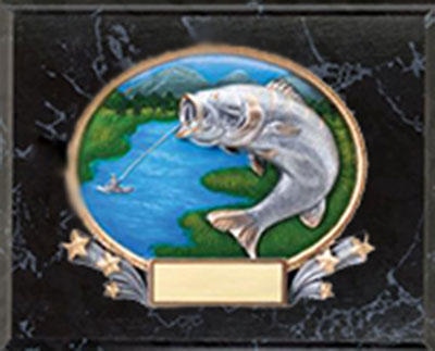 3D409 9 X 12 Black Marble Finish Fishing Plaque