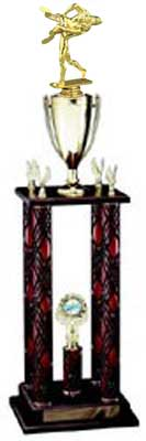 Wrestling Trophies, Boxing Trophies, 4PC Four Post Cup Trophies
