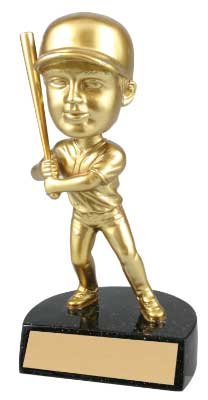 Resin Gold Bobble Head Baseball Trophy