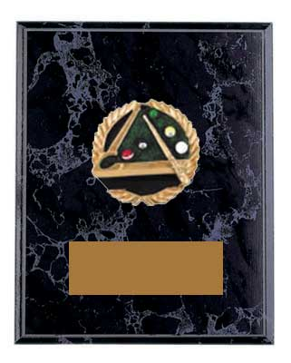Black Marble Finish Emblem Pool or Billiard Plaque