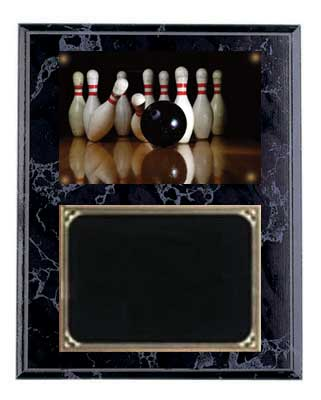 Deluxe Black Finish Picture Bowling Plaque