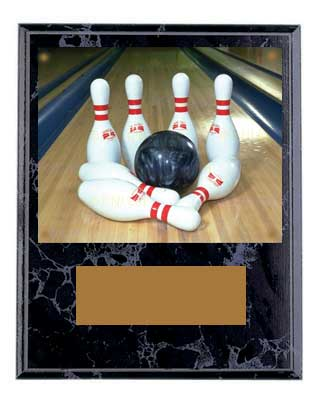 Black Marble Finish Image Bowling Plaque