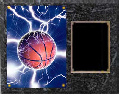 Image Basketball Plaque H Series in black marble finish with deluxe engraving plate