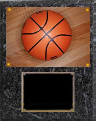Image Basketball Plaque V series in black marble finish with deluxe engraving plate