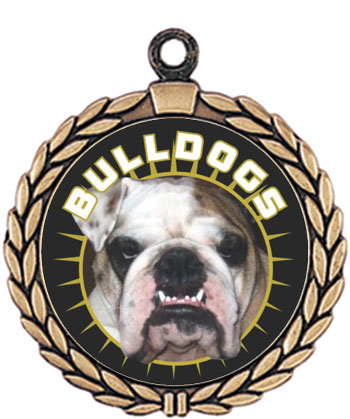 Bulldog Mascot Medal HR905-610 with Neck Ribbon