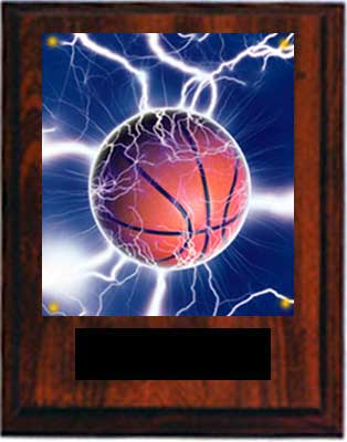 Cherry Finish Image Basketball Plaques