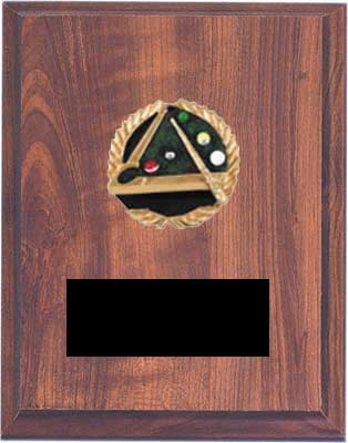 Cherry Finish Emblem Pool or Billiard Plaque