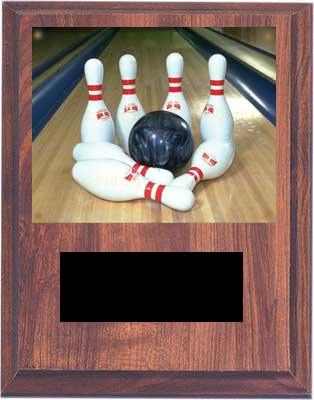 Cherry Finish Image Bowling Plaque