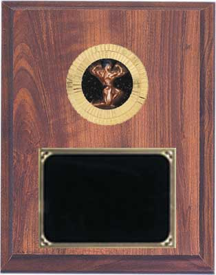 Cherry Finish Deluxe Men's Bodybuilder Plaque