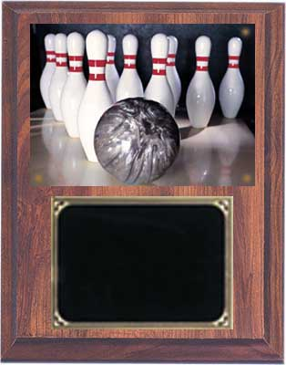Deluxe Cherry Finish Image Bowling Plaque
