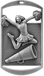 DT226 Dog Tag Cheerleader Medal with Six Pricing Options