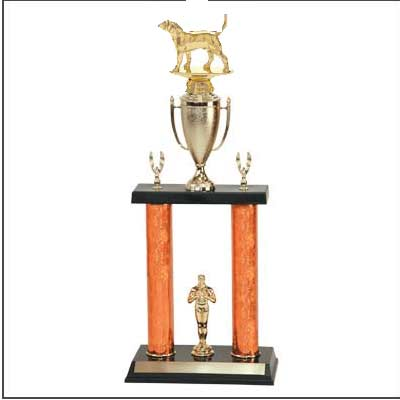2DPC Dog Trophies with double posts with cup